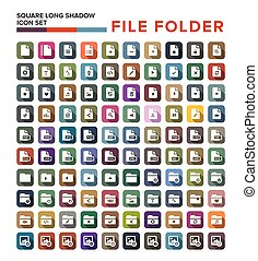 file Folder icon with long shadow, flat design. Vector illustration.
