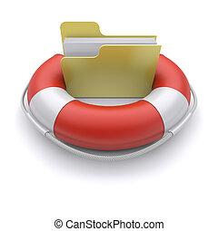 File folder in lifebuoy