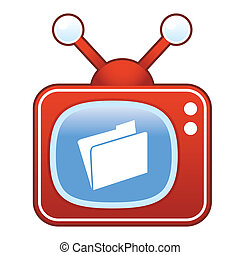 File folder on retro television
