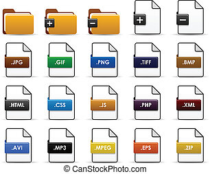 File Folder Web Icon Design - A set of file types and...