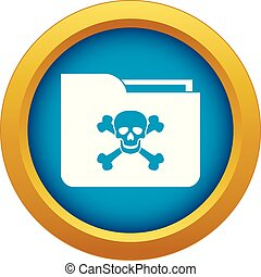 File folder with a skull icon blue vector isolated