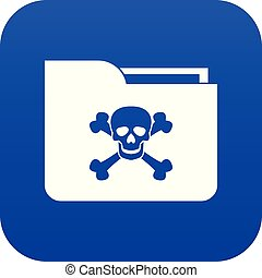 File folder with a skull icon digital blue