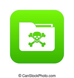 File folder with a skull icon digital green