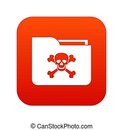 File folder with a skull icon digital red