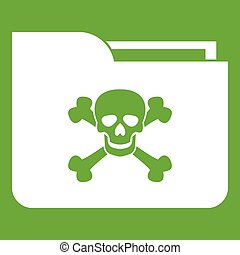 File folder with a skull icon green
