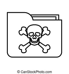 File folder with a skull icon, outline style