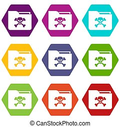 File folder with a skull icon set color hexahedron