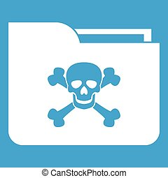 File folder with a skull icon white