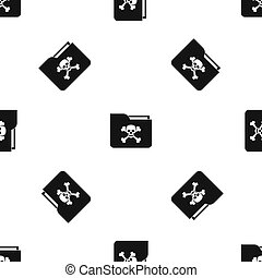 File folder with a skull pattern seamless black