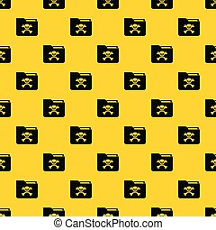 File folder with a skull pattern vector
