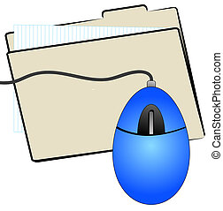 file folder with computer mouse on top
