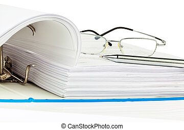 A file folder with documents and papers. Retention of contracts.