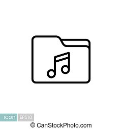 File folder with music note vector icon