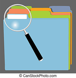 File Folders and Magnifying Glass - A set of file folders in...