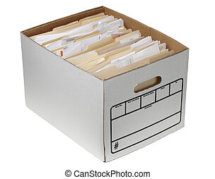 File folders in storage box - Storage box filled with...