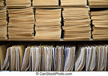 Shelf with file folders in a archives
