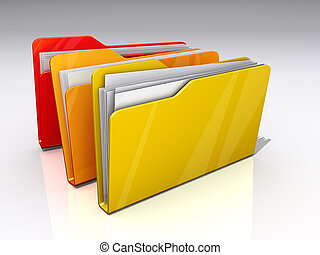 File Folders - Three File folders on a shiny background.