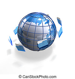 file globe - a blue business globe with files flying around...
