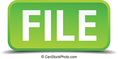 File green 3d realistic square isolated button