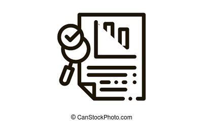 File Infographic Research Icon Animation. black Analysis And Approved By Magnifier Glass Infographic Document animated icon on white background