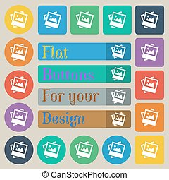File JPG icon sign. Set of twenty colored flat, round, square and rectangular buttons. Vector