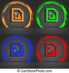 File JPG icon symbol. Fashionable modern style. In the orange, green, blue, green design.