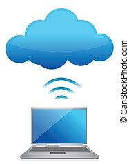 file, laptop, moderno, mandare, server, nuvola