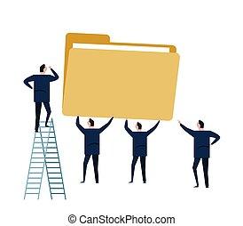 File management storage data folder business concept illustration. man team work working together