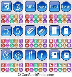 File, MP3, Last, Five, Clip, Cupboard, Reload, Cutlery, Notebook. A large set of multi-colored buttons. Vector