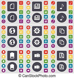 File, Newspaper, Note, Earth, Gear, Copy, Battery, Camera, ZIP card icon symbol. A large set of flat, colored buttons for your design. Vector