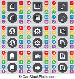 File, Newspaper, Note, Earth, Gear, Copy, Battery, Camera, ZIP card icon symbol. A large set of flat, colored buttons for your design.