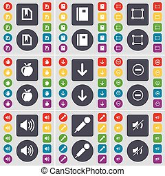 File, Notebook, Frame, Apple, Arrow down, Minus, Sound, Microphone, Mute icon symbol. A large set of flat, colored buttons for your design. Vector