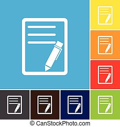 File, paper, icon, vector.