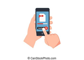 File Pdf download button on smartphone screen. Hand holds smartphone, finger touches button. Downloading document concept for web banners, web sites, Creative flat design vector illustration
