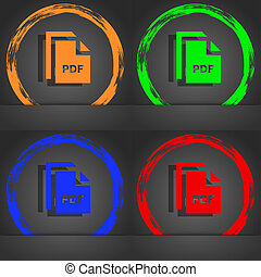 file PDF icon symbol. Fashionable modern style. In the orange, green, blue, green design.