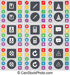 File, Pencil, Cone, Speaker, Calculator, Chat, Videotape, Reload, Warning icon symbol. A large set of flat, colored buttons for your design.