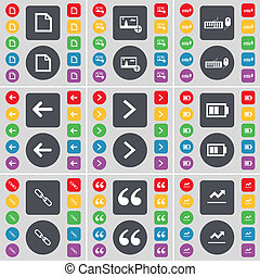 File, Picture, Keyboard, Arrow left, Arrow right, Battery, Link, Quotation mark, Graph icon symbol. A large set of flat, colored buttons for your design.