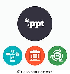 File presentation icon. Download PPT button. PPT file ...