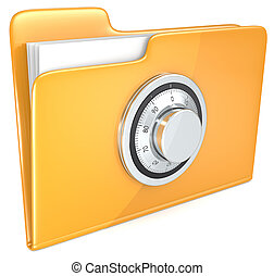 File protection. - Folder with combination lock.