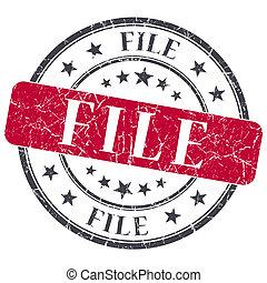 File red grunge round stamp on white background