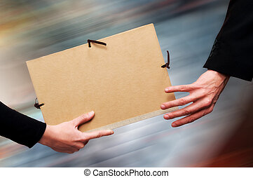 File Relay - Two persons exchanging a file as a relay baton....