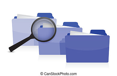 File search concept: folders and magnifying glass ...