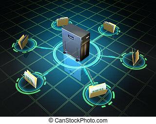 File folders connected to a desktop server. Digital illustration.