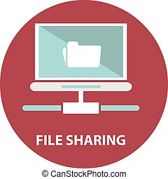 File sharing concept. Folder with Documents Icon
