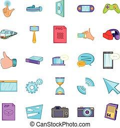 File sharing icons set, cartoon style