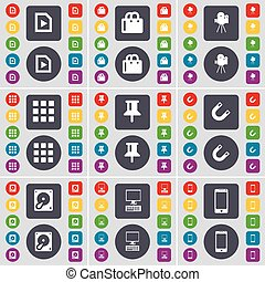 File, Shopping bag, Film camera, Apps, Pin, Magnet, Hard drive, PC, Smartphone icon symbol. A large set of flat, colored buttons for your design. Vector