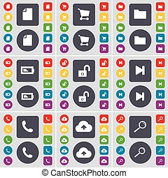 File, Shopping cart, Folder, Battery, Lock, Media skip, Receiver, Cloud, Magnifying glass icon symbol. A large set of flat, colored buttons for your design. Vector