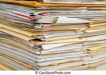 File Stack, file folder close up for background