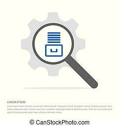 File Stack Icon Search Glass with Gear Symbol Icon template