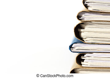 file. - file stacked.on white background.